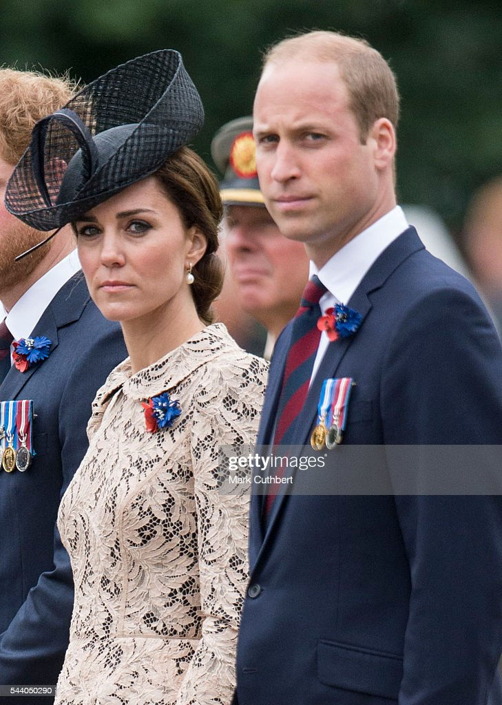 Prince William, Duke of Cambridge and Catherine, Duchess of Cambridge attend a Commemoration of the Centenary of the Battle of the Somme at The Commonwealth War Graves Commission Thiepval Memorial on July 01, 2016 in Thiepval, France.