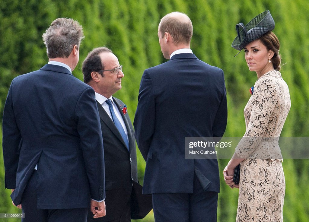 <a gi-track='captionPersonalityLinkClicked' href=/galleries/search?phrase=Prince+William&family=editorial&specificpeople=178205 ng-click='$event.stopPropagation()'>Prince William</a>, Duke of Cambridge and Catherine, Duchess of Cambridge talk to Prime Minsiter <a gi-track='captionPersonalityLinkClicked' href=/galleries/search?phrase=David+Cameron+-+Politician&family=editorial&specificpeople=227076 ng-click='$event.stopPropagation()'>David Cameron</a> and French President Francois Hollande at a Commemoration of the Centenary of the Battle of the Somme at The Commonwealth War Graves Commission Thiepval Memorial on July 01, 2016 in Thiepval, France.