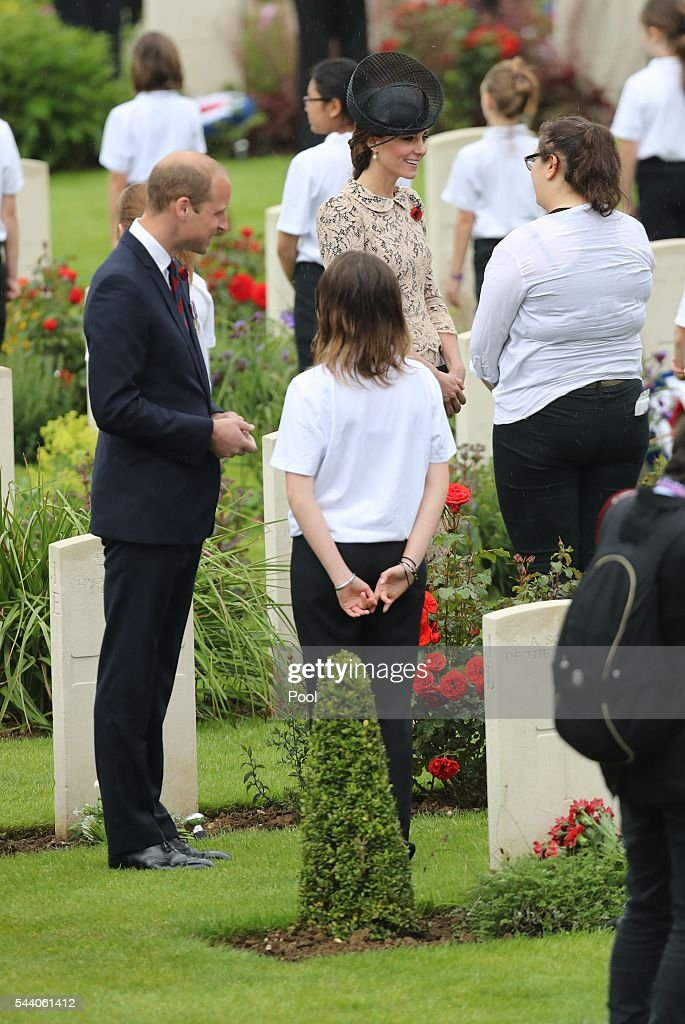 Prince William, Duke of Cambridge and Catherine, Duchess of Cambridge attend a service to mark the 100th anniversary of the beginning of the Battle of the Somme at the Thiepval memorial to the Missing on July 1, 2016 in Thiepval, France. The event is part of the Commemoration of the Centenary of the Battle of the Somme at the Commonwealth War Graves Commission Thiepval Memorial in Thiepval, France, where 70,000 British and Commonwealth soldiers with no known grave are commemorated.