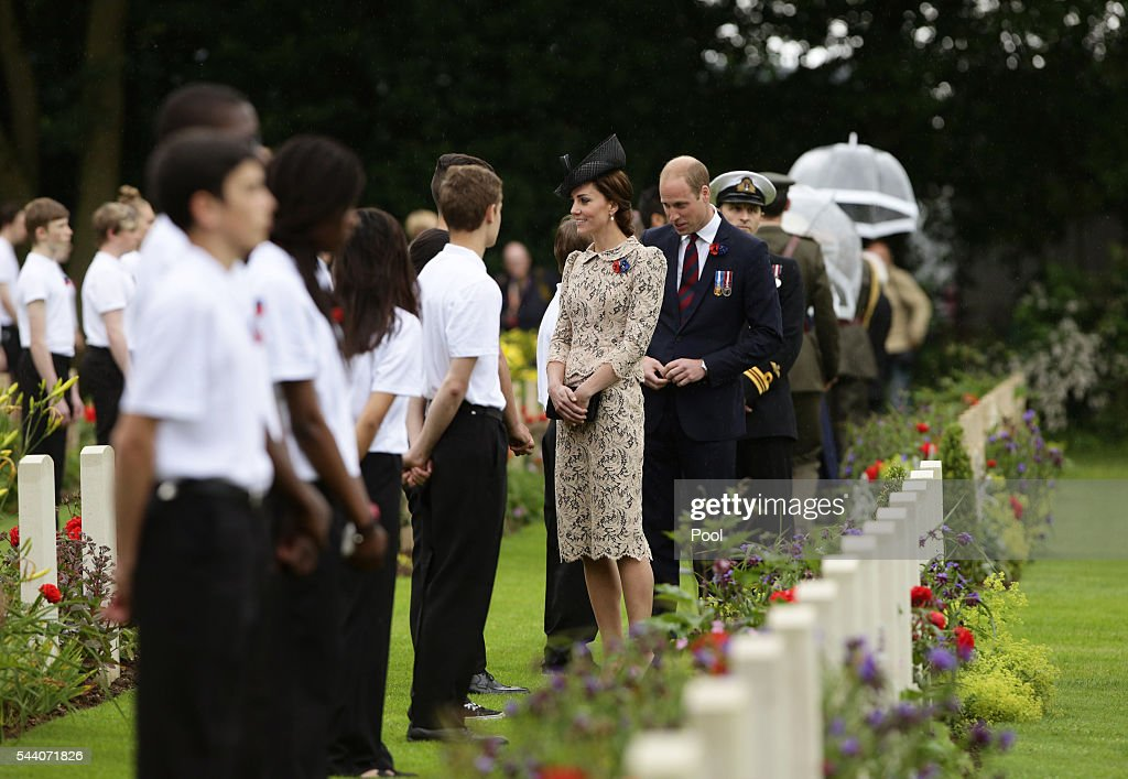 Prince William, Duke of Cambridge and Catherine, Duchess of Cambridge meet British and French school children by war graves following the wreath laying, during the Commemoration of the Centenary of the Battle of the Somme at the Commonwealth War Graves Commission Thiepval Memoria on July 1, 2016 in Thiepval, France. The event is part of the Commemoration of the Centenary of the Battle of the Somme at the Commonwealth War Graves Commission Thiepval Memorial in Thiepval, France, where 70,000 British and Commonwealth soldiers with no known grave are commemorated.