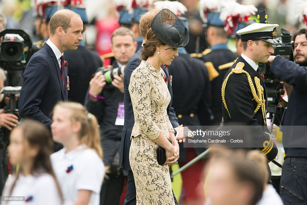 Prince William, Duke of Cambridge and Catherine, Duchess of Cambridge during the Commemoration of the Centenary of the Battle of the Somme at the Commonwealth War Graves Commission Thiepval Memorial on July 1, 2016 in Thiepval, France.