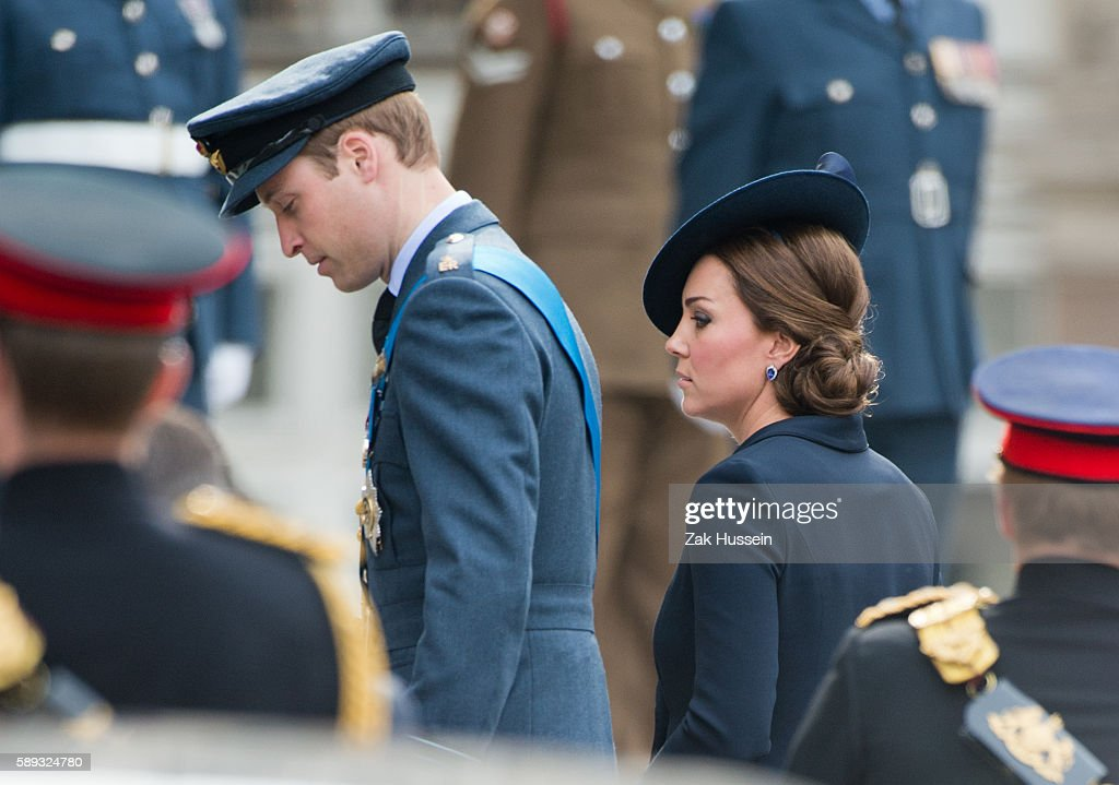 Prince William Duke of Cambridge and Catherine Duchess of Cambridge wearing a navy blue Beulah coat attending a service to mark 13 years of UK...