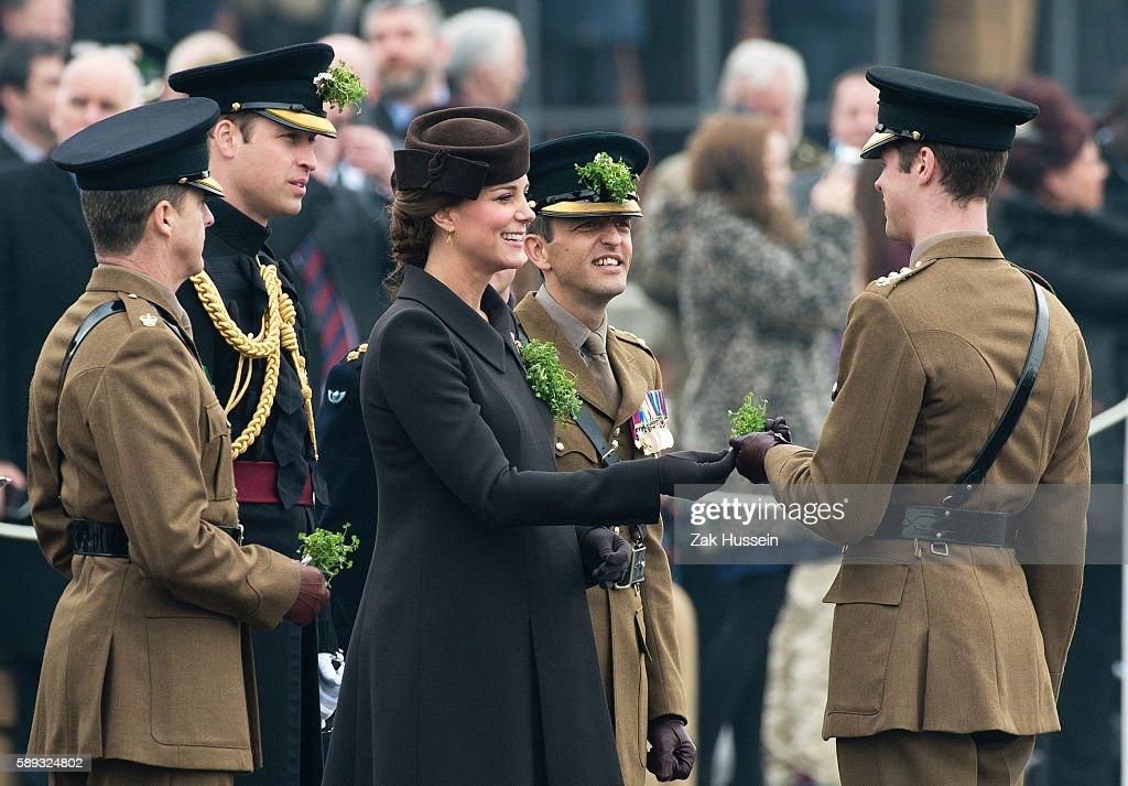 Prince William Duke of Cambridge and Catherine Duchess of Cambridge wearing a bespoke Catherine Walker coat attending the Irish Guards' St Patrick's...