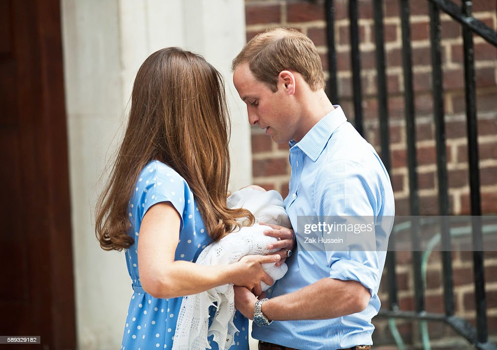 Prince WIlliam Duke of Cambridge and Catherine Duchess of Cambridge leave St Mary's Hospital in London UK after the birth of Prince George on July 23...