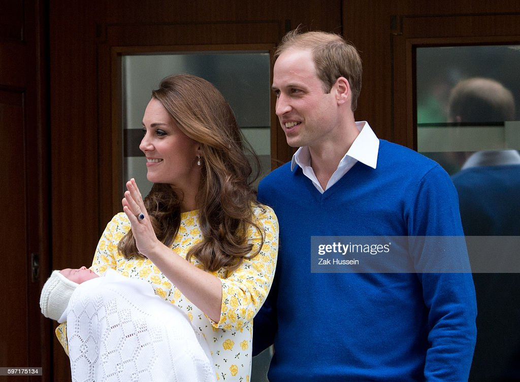 Prince William Duke of Cambridge and Catherine Duchess of Cambridge leave the Lindo Wing at St Mary's Hospital in London with their newborn baby...