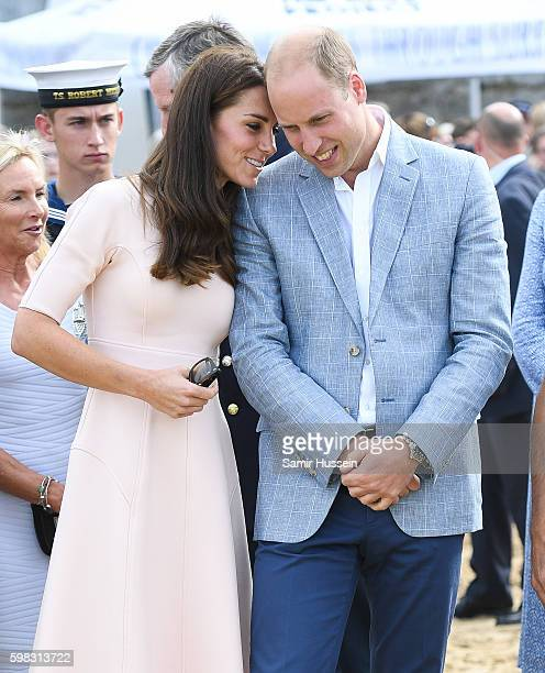 Prince William Duke of Cambridge and Catherine Duchess of Cambridge visit Towan Beach during a visit to Cornwall on September 1 2016 in Cornwall...