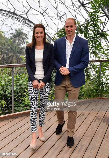 Prince William Duke of Cambridge and Catherine Duchess of Cambridge visit the Eden Project in Cornwall on September 2 2016 near St Austell England