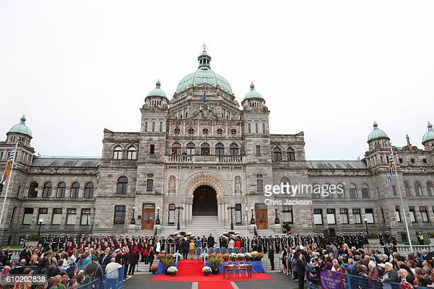 Prince William Duke of Cambridge and Catherine Duchess of Cambridge are greeted at the Official Welcome Ceremony for the Royal Tour at the British...