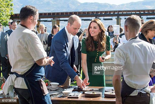 Prince William Duke of Cambridge and Catherine Duchess of Cambridge attend a Taste of British Columbia community event at Mission Hill Winery on...