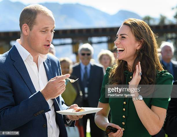Prince William Duke of Cambridge and Catherine Duchess of Cambridge sample Indian food cooked by Vikram Vij at visit Mission Hill Winery on September...