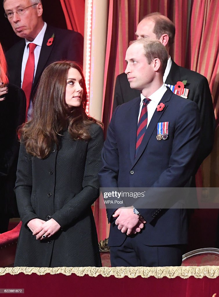 Prince William, Duke of Cambridge and Catherine, Duchess of Cambridge attend the annual Royal Festival of Remembrance at the Royal Albert Hall on November 12, 2016 in London, England.