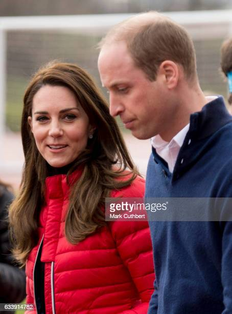 Prince William Duke of Cambridge and Catherine Duchess of Cambridge during a training day for the Heads Together team for the London Marathon at...