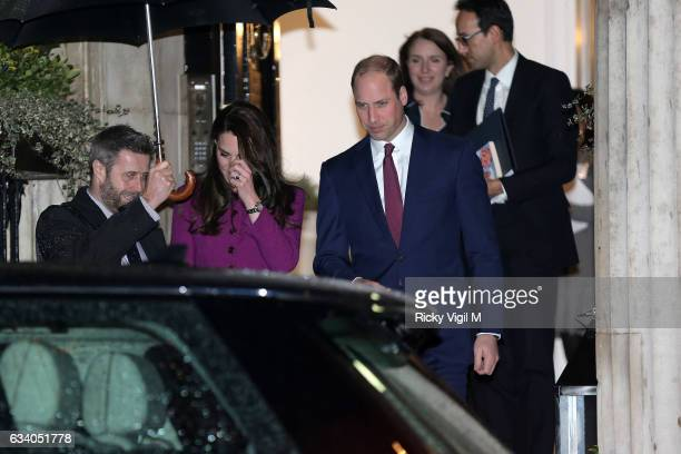 Prince William Duke of Cambridge and Catherine Duchess of Cambridge seen leaving Chandos House on February 6 2017 in London England