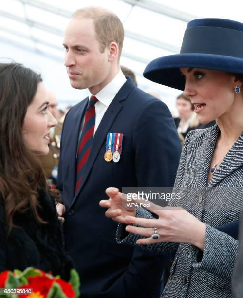 Prince William Duke of Cambridge and Catherine Duchess of Cambridge meet veterans and serving members of the British armed forces at a reception...
