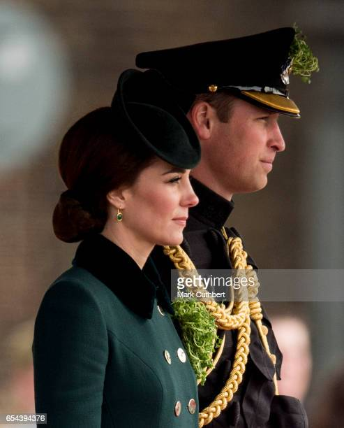 Prince William Duke of Cambridge and Catherine Duchess of Cambridge attend the annual Irish Guards St Patrick's Day Parade at Household Cavalry...