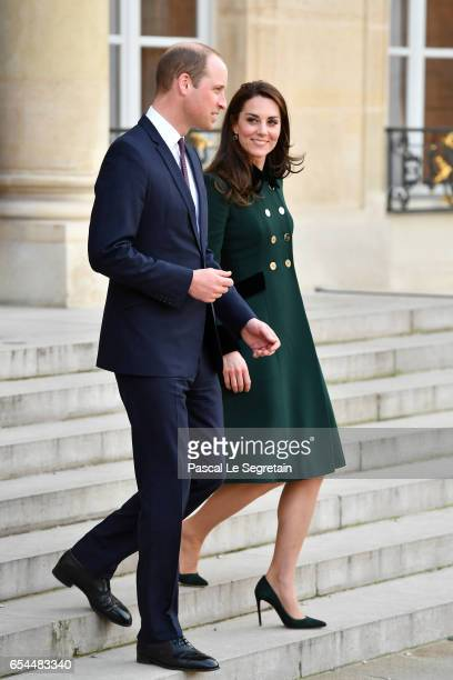 Prince William Duke of Cambridge and Catherine Duchess of Cambridge leave after a meeting with French President Francois Hollande at the Elysee...
