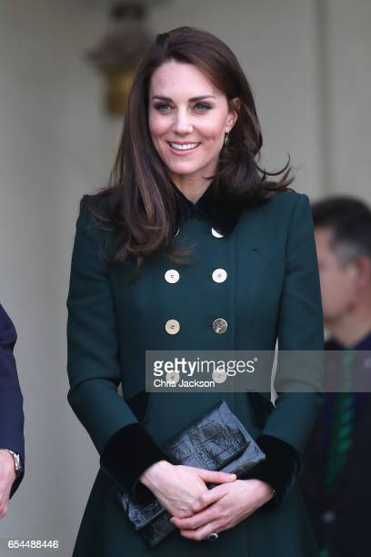 Prince William Duke of Cambridge and Catherine Duchess of Cambridge depart from Elysee Palace after meeting French President Francois Hollande during...