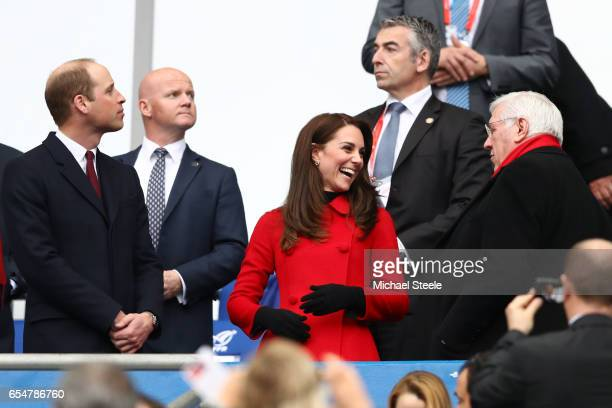 Prince William Duke of Cambridge and Catherine Duchess of Cambridge attend the RBS Six Nations match between France and Wales at the Stade de France...