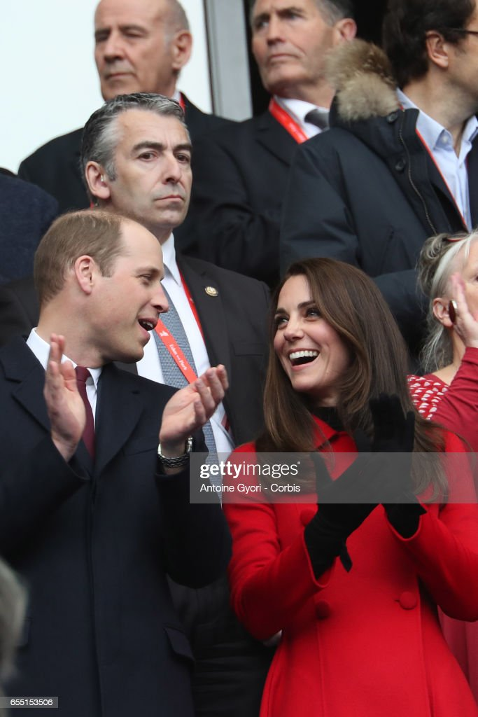 Prince William, Duke of Cambridge and Catherine, Duchess of Cambridge attend the RBS Six Nations match between France and Wales at Stade de France on March 18, 2017 in Paris, France.
