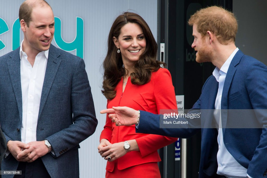 Prince William, Duke of Cambridge and Catherine, Duchess of Cambridge with Prince Harry attend the official opening of The Global Academy in support of Heads Together at The Global Academy on April 20, 2017 in Hayes, England. The Global Academy is a state school founded and operated by Global, The Media & Entertainment Group and will educate students for careers in broadcast and digital media.