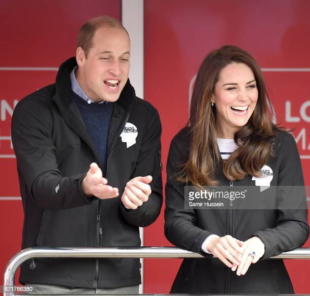 Prince William Duke of Cambridge and Catherine Duchess of Cambridge officially start the 2017 Virgin Money London Marathon elite men's and mass race...