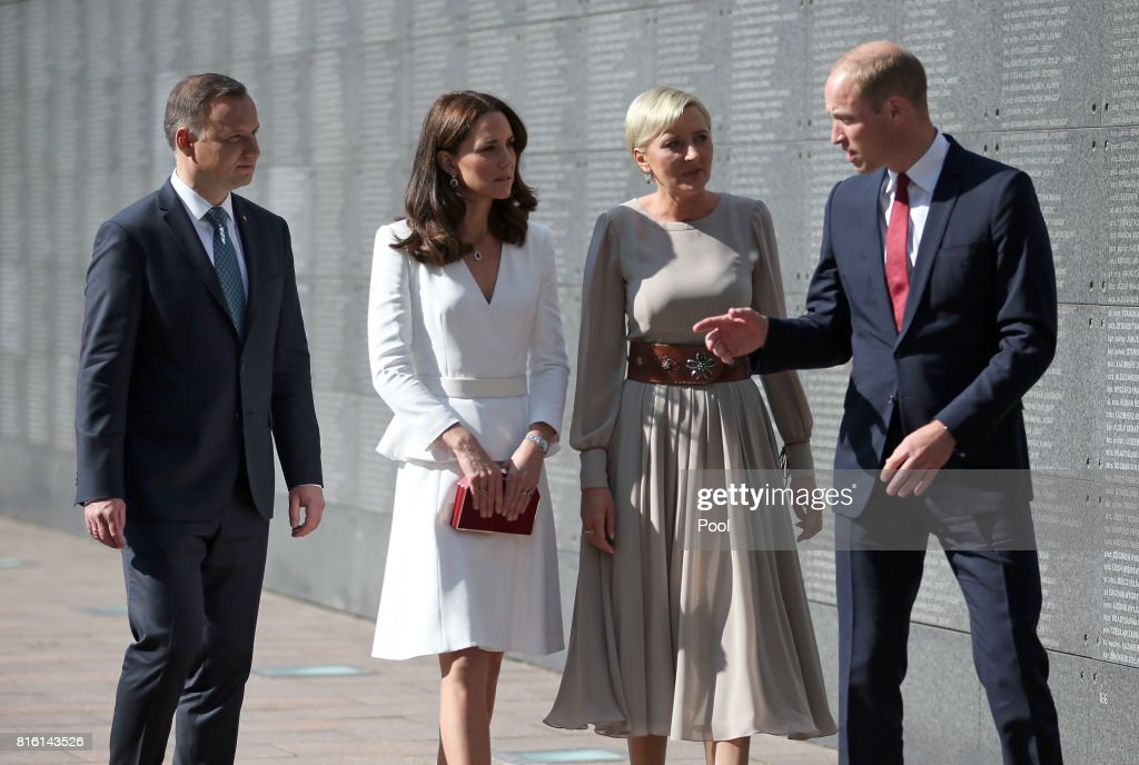 Prince William, Duke of Cambridge and Catherine, Duchess of Cambridge with President Andrzej Duda and his wife, Agata, at the Wall of Remembrance as they visit the Warsaw Rising Museum on day 1 of their offical visit to Poland on July 17, 2017 in Warsaw, Poland.