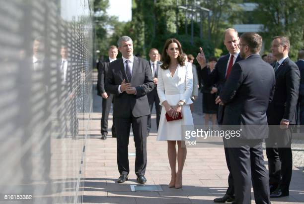 Prince William Duke of Cambridge and Catherine Duchess of Cambridge with President Andrzej Duda at the Wall of Remembrance at the Wall of Remembrance...