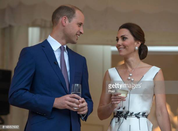 Prince William Duke of Cambridge and Catherine Duchess of Cambridge prepare to toast HM The Queen at the Queen's Birthday Garden Party at the...