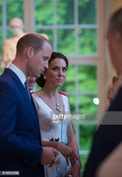 Prince William Duke of Cambridge and Catherine Duchess of Cambridge attend the Queen's Birthday Garden Party at the Orangery Lazienki Park on day 1...