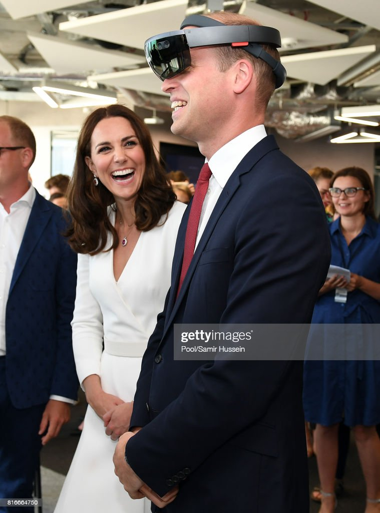 Prince William, Duke of Cambridge and Catherine, Duchess of Cambridge attend a Tech Market event for Polish Business during an official visit to Poland and Germany on July 17, 2017 in Warsaw, Poland.