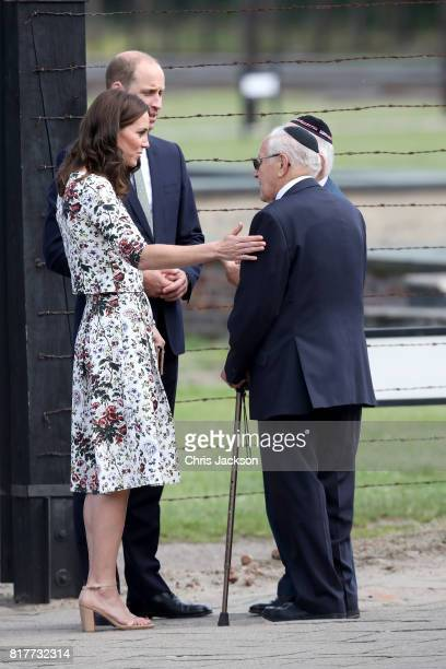 Prince William Duke of Cambridge and Catherine Duchess of Cambridge talk with former prisoners from the Stutthof concentration camp during an...