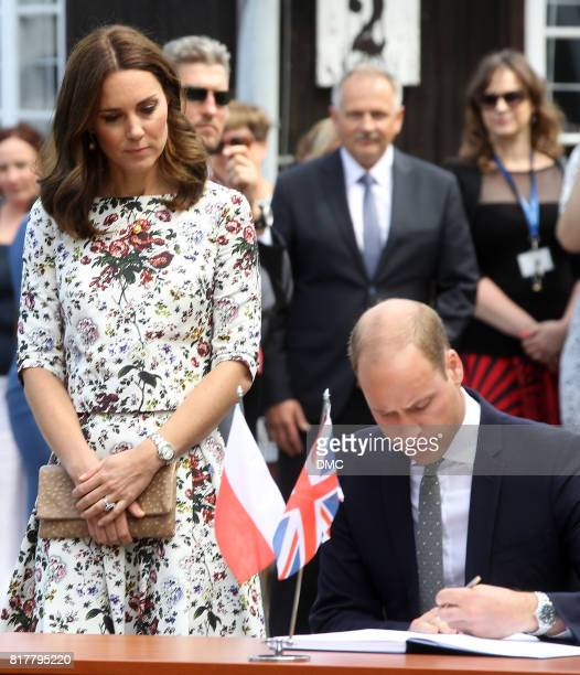 Prince William Duke of Cambridge and Catherine Duchess of Cambridge are seen at the Stutthof concentration camp during an official visit to Poland...