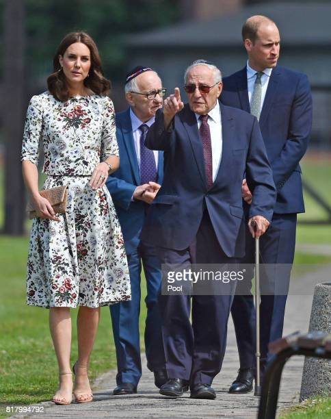 Prince William Duke of Cambridge and Catherine Duchess of Cambridge meet former prisoners of the Stutthof concentration camp Manfred Goldberg and...