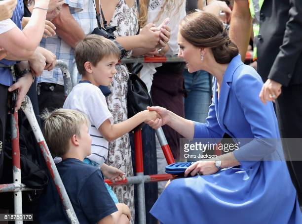 Prince William Duke of Cambridge and Catherine Duchess of Cambridge visit the Brandenburg Gate during an official visit to Poland and Germany on July...