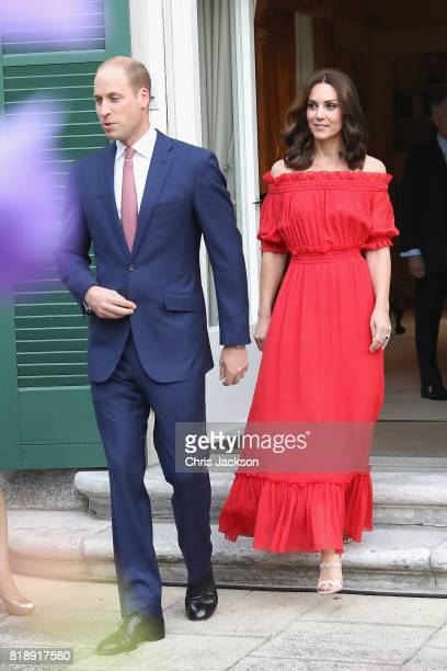 Prince William Duke of Cambridge and Catherine Duchess of Cambridge attend The Queen's Birthday Party at the British Ambassadorial Residence during...