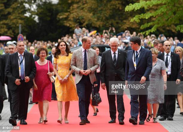 Prince William Duke of Cambridge and Catherine Duchess of Cambridge accompanied by BadenWürttemberg's Minister President Winfried Kretschmann his...