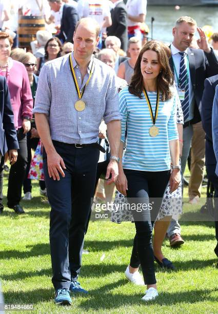 Prince William Duke of Cambridge and Catherine Duchess of Cambridge after participating in a rowing race between the twinned town of Cambridge and...