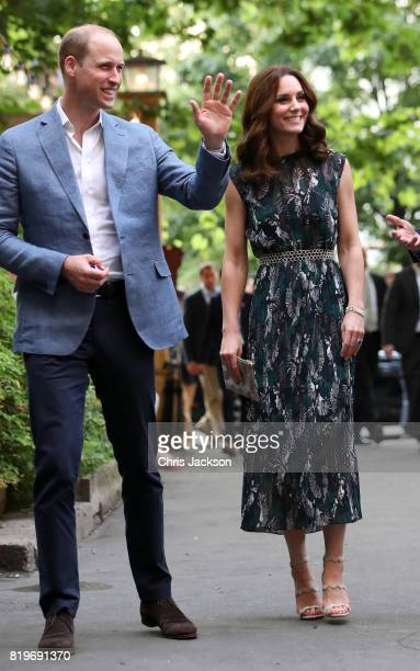 Prince William Duke of Cambridge and Catherine Duchess of Cambridge arrive at the last original dancehall in Berlin the Clärchens Ballhaus to attend...