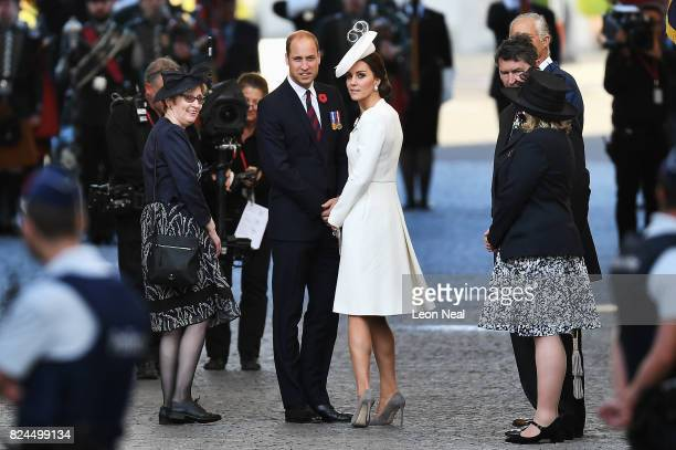 Prince William Duke of Cambridge and Catherine Duchess of Cambridge attend commemorations marking the centenary of Passchendale in the town market...