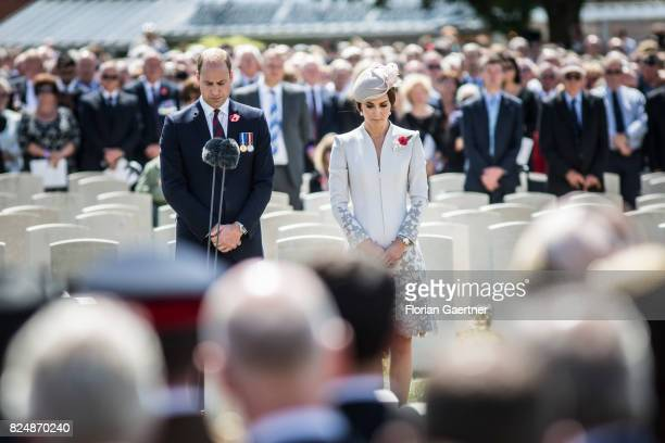 Prince William Duke of Cambridge and Catherine Duchess of Cambridge are pictured during the Commemoration Ceremony of the Battle of Passchendaele on...