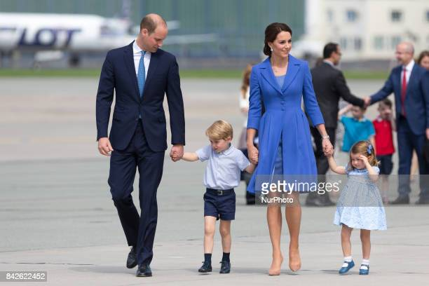 Prince William Duke of Cambridge and Catherine Duchess of Cambridge with their chlidren in Warsaw Poland on 19 July 2017