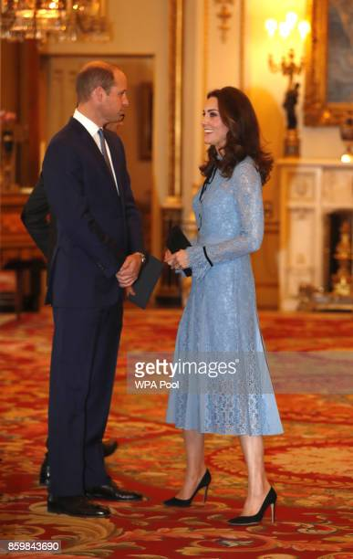 Prince William Duke of Cambridge and Catherine Duchess of Cambridge support World Mental Health Day at Buckingham Palace on 10 October 2017 in London...