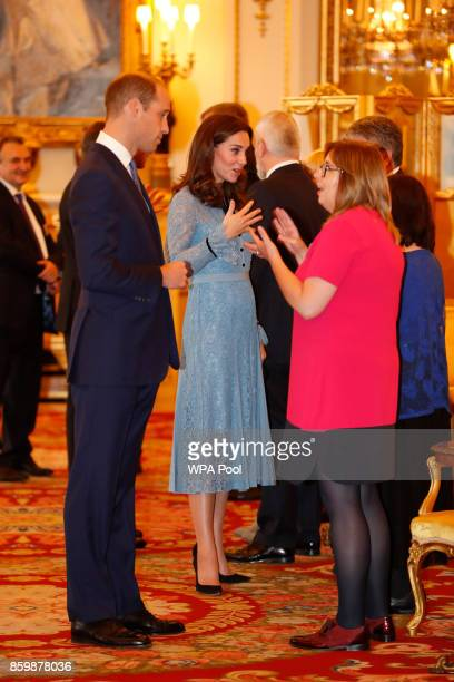 Prince William Duke of Cambridge and Catherine Duchess of Cambridge attend a reception on World Mental Health Day to celebrate the contribution of...