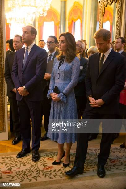 Prince William Duke of Cambridge and Catherine Duchess of Cambridge and Prince Harry attend a reception on World Mental Health Day to celebrate the...