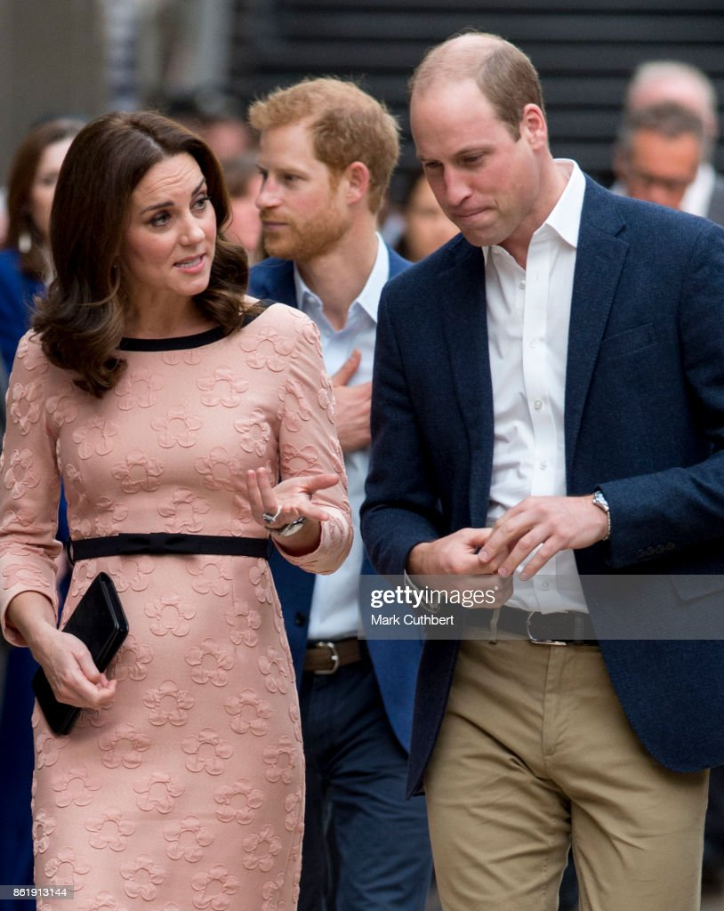 Prince William, Duke of Cambridge and Catherine, Duchess of Cambridge with Prince Harry attend the Charities Forum Event on board the Belmond Britigh Pullman train at Paddington Station on October 16, 2017 in London, England.