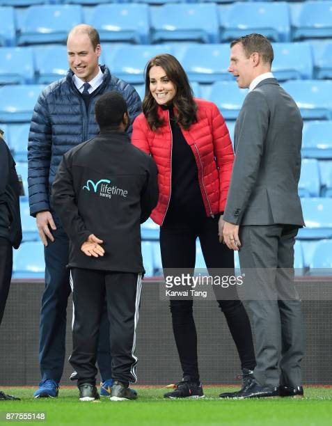 Prince William Duke of Cambridge and Catherine Duchess of Cambridge visit Aston Villa Football Club to see the work of the Coach Core programme...