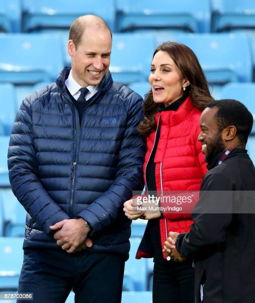 Prince William Duke of Cambridge and Catherine Duchess of Cambridge visit Aston Villa Football Club to see the work of the Coach Core programme on...