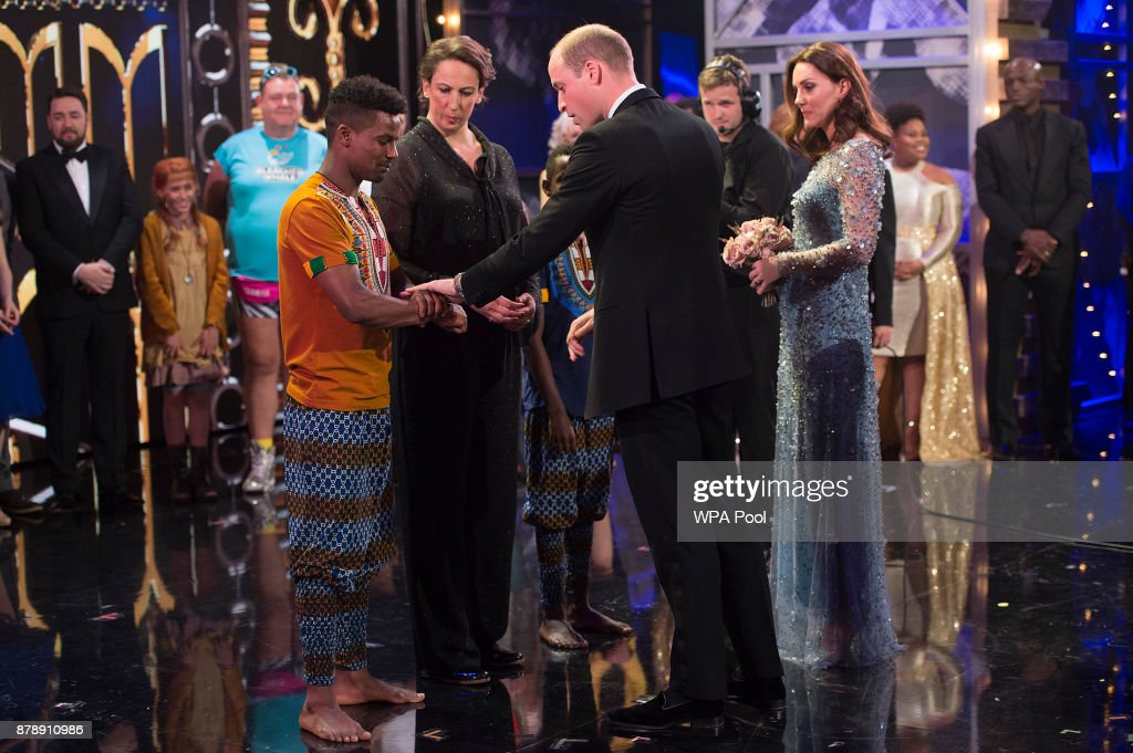 Prince William, Duke of Cambridge and Catherine, Duchess of Cambridge speak to performers on stage as they attend the Royal Variety Performance at the Palladium Theatre on November November 24, 2017 in London, England. The Royal Variety Performance takes place every year, either in London or in a theatre around the United Kingdom. The event is in aid of the Royal Variety Charity, formally, The Entertainment Artistes Benevolent Fund, of which The Queen is Patron. The money raised from the show helps hundreds of entertainers throughout the UK, who need help and assistance as a result of old age, ill-health, or hard times.