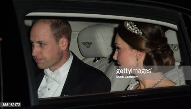 Prince William Duke of Cambridge and Catherine Duchess of Cambridge arrive at a Diplomatic Reception at Buckingham Palace on December 5 2017 in...