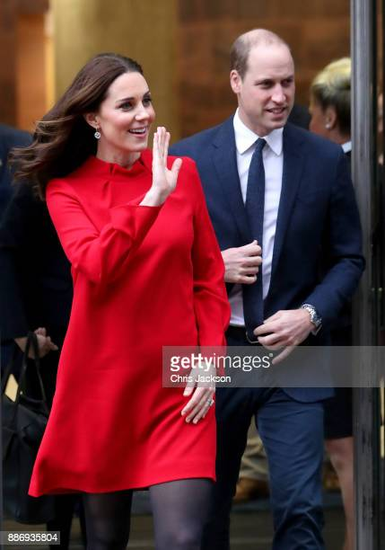 Prince William Duke of Cambridge and Catherine Duchess of Cambridge depart a 'Stepping Out' session at Media City on December 6 2017 in Manchester...